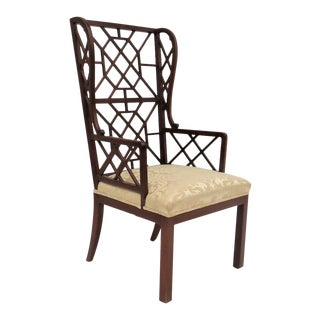 Chippendale Mahogany Fretwork Wingback Chair For Sale