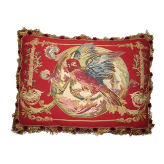 Vintage French Aubusson Parrot Pillow For Sale