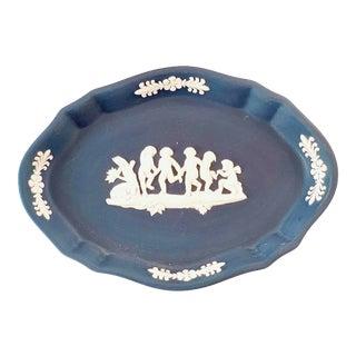 Vintage Wedgewood Blue Jasperware Trinket Dish For Sale
