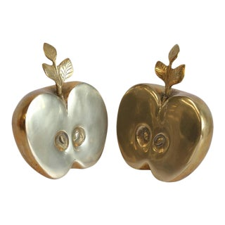 Mid-Century Brass Apple Bookends - A Pair For Sale