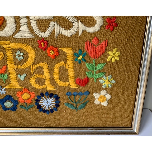 1960s 1960s Hippie God Bless Our Pad Framed Crewelwork For Sale - Image 5 of 9