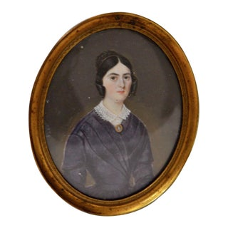 Mid 19th Century Miniature Portrait of a Young Woman C.1838 For Sale
