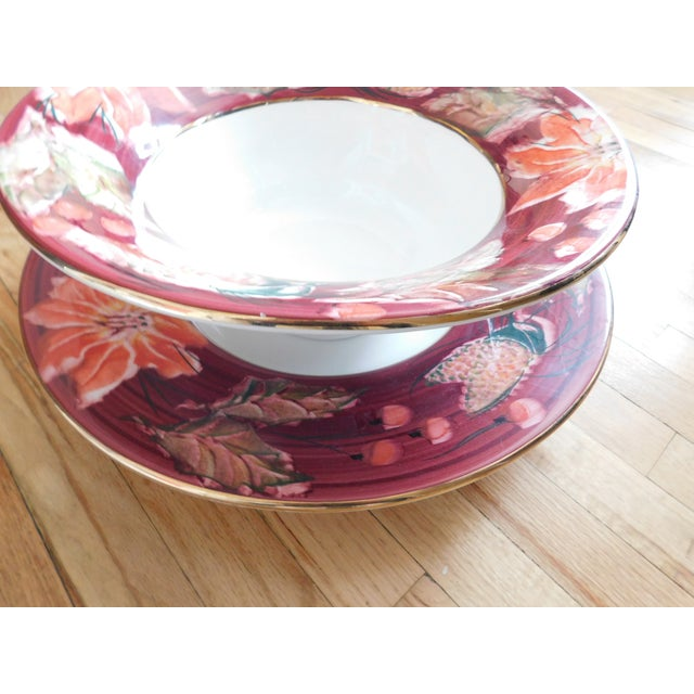 This very large and fabulous over-sized floral design Italian-made serving/punch bowl and under platter cannot be missed!...