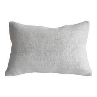 Vintage Turkish Rug Pillow in Off White Hemp For Sale