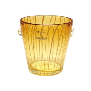 Modern Venini Murano Amber Art Glass Ice Holder For Sale