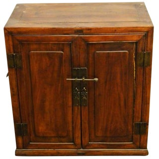 Antique Brown Lacquer Side Cabinet With Brass Hardware From China, 19th Century For Sale