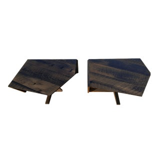 Modern Ebonized Oak Barnwood Coffee Tables - Pair For Sale