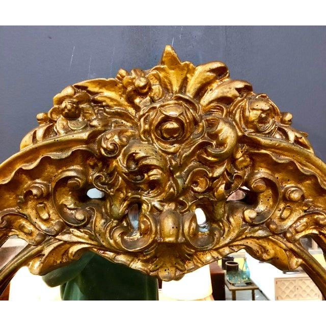 Hollywood Regency Large Vintage Gold Mirror For Sale - Image 3 of 8