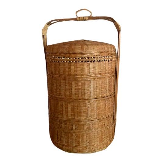 Vintage Japanese Wedding Basket For Sale