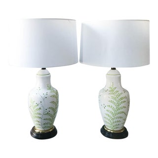 Mid Century Frederick Cooper Fern Lamps, Signed - a Pair