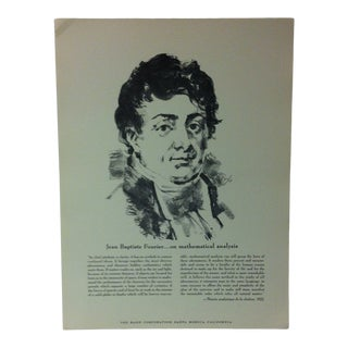 """1962 """"Jean Baptiste Fourier - on Mathematical Analysis"""" The Rand Corporation Famous People in History Print For Sale"""