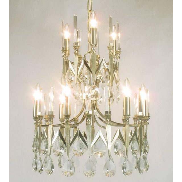 Rare Italian Import Gaetano Sciolari Silver and Crystal Nine-Light Chandelier - Image 2 of 7