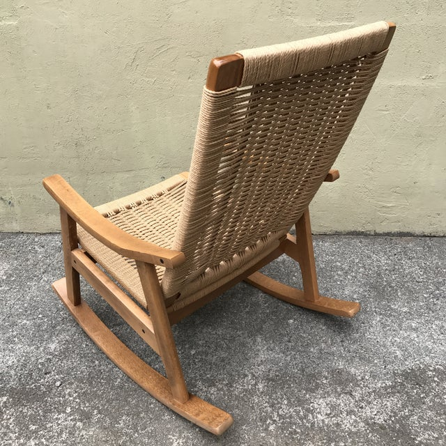 Hans Wegner Style Rocking Chair & Ottoman - A Pair - Image 9 of 11
