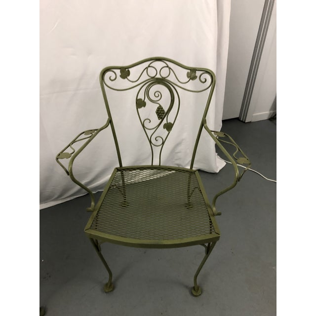 1960s Vintage Woodard Style Wrought Iron Patio Chairs - Set of 6 For Sale - Image 5 of 13