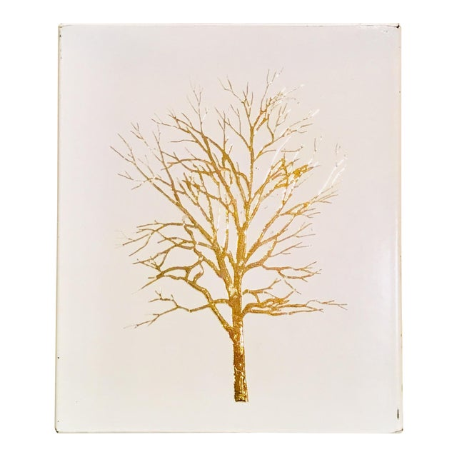 Vintage White Lacquered Plastic Tissue Box With Gold Metallic Abstract Tree Design For Sale