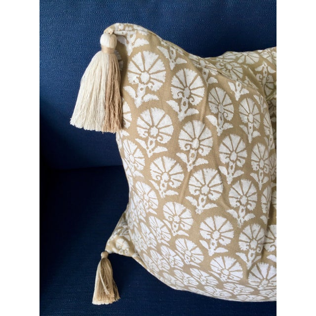 Contemporary Custom Madeline Weinrib Floral Block Print Throw Pillow With Two-Tone Tassels For Sale - Image 3 of 4