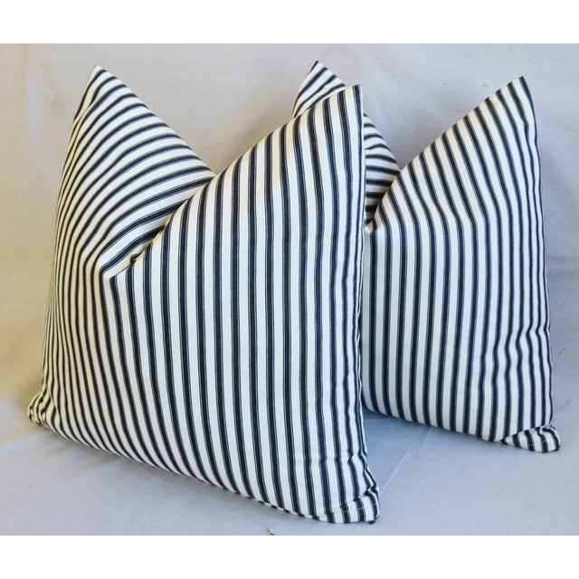 """Feather French Black & White Striped Ticking Feather/Down Pillows 23"""" Square - Pair For Sale - Image 7 of 10"""