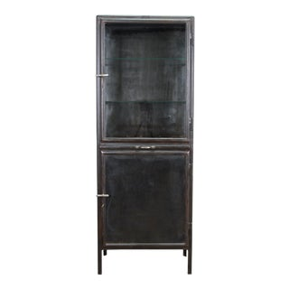 1950s Industrial Polished Metal Vitrine For Sale