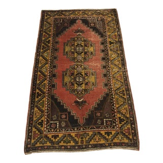 Vintage Antique Anatolian Wool Rug- 4′3″ × 7′3″ For Sale