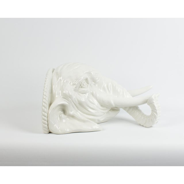 1970s Italian White Ceramic Elephant Wall Sconce Shelf For Sale In New York - Image 6 of 13