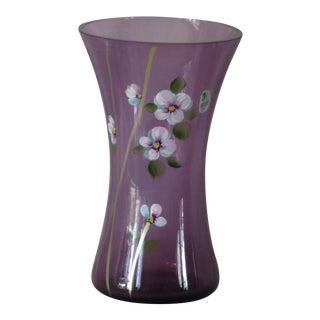 1960s Vintage Sue Jackson Fenton Opaline Glass Hand Blown Vase For Sale