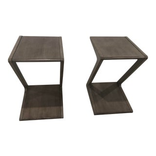 Modern Grey End Tables - a Pair For Sale