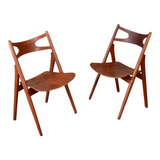 Pair of Hans Wegner CH29 'Sawbuck' Chairs For Sale