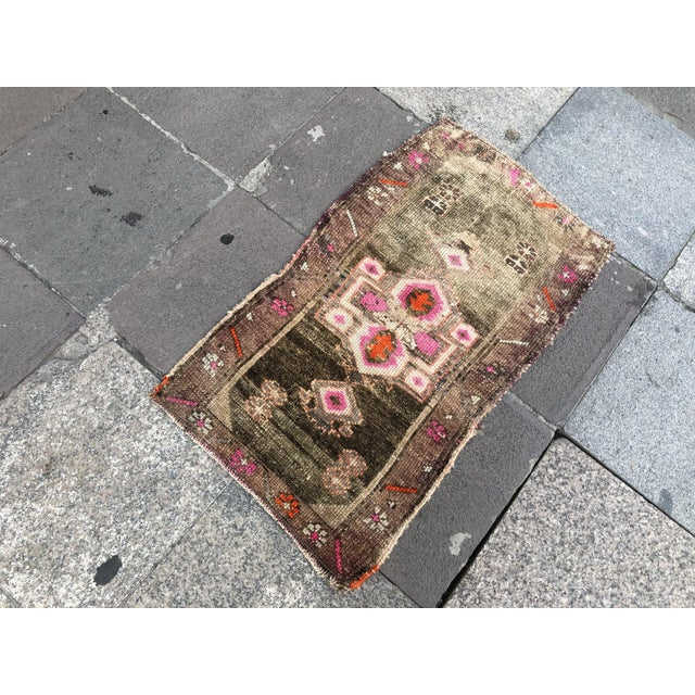 Turkish 1960s Vintage Distressed Rug- 1′8″ × 2′10″ For Sale - Image 3 of 6