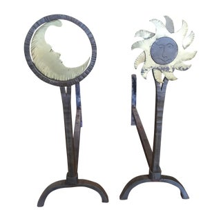 Sun and Moon Andirons