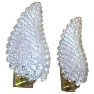1960's Vintage Barovier Murano Rugiadoso Leaf Wall Sconces- A Pair For Sale