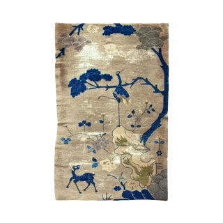 Vintage Crane and Deer Chinese Rug For Sale