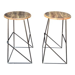 Modern Kalalou Rustic Wood and Metal Bar Stools- A Pair For Sale