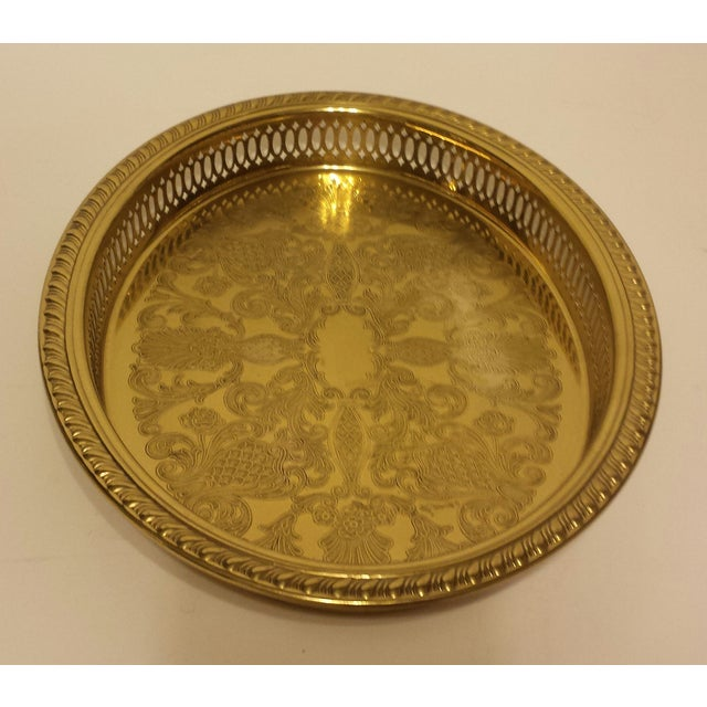 Solid Brass Pierced Gallery Oval Tray - Image 6 of 6