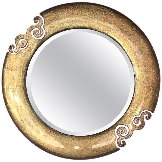Italian Gold Glass Mirror With Swarovski Strass Crystals For Sale