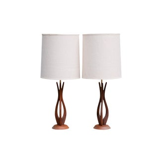 Mid Century Modern Sculptural Teak Table Lamps, a Pair For Sale