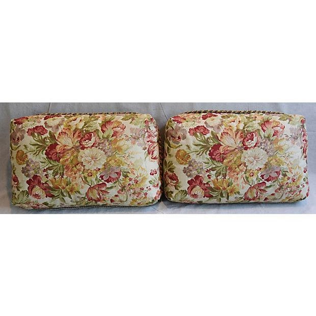 "24"" x 15"" Custom Tailored English Floral Linen Feather/Down Pillows - Pair - Image 9 of 11"