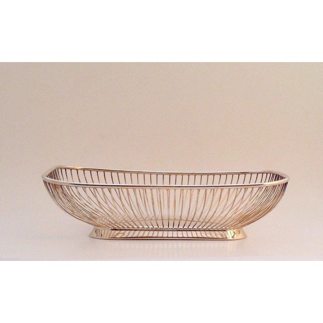 1980s Mid-Century Modern Silverplate Wire Bread Basket For Sale In New York - Image 6 of 6