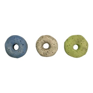 Ceramic Wall Donuts - Moon Set of Three For Sale
