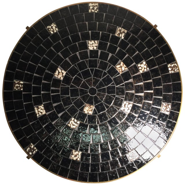 Vintage Mid-Century Modern Mosaic Tile and Solid Brass Coffee Table by Mosaic House For Sale - Image 9 of 9