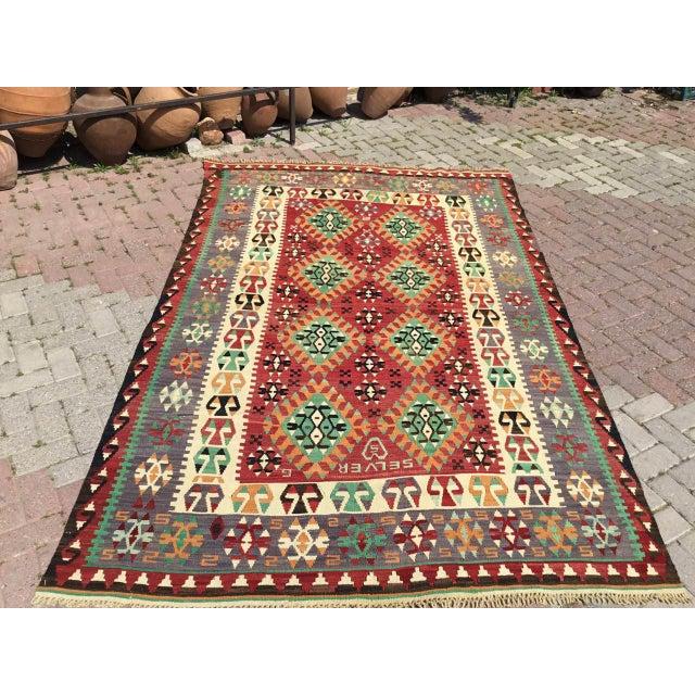 Vintage Turkish Kilim Rug For Sale - Image 12 of 12