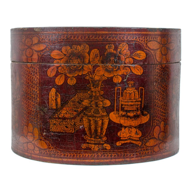 Asian Qing Dynasty Red Lacquered Hat Box For Sale - Image 3 of 8