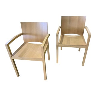 1980s Italian Cerused, Rift-Sawn White Oak Accent / Dining Arm Chairs, a Pair For Sale