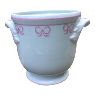 Vista Alegre Porcelain Ruban Pink Bows Cachepot For Sale