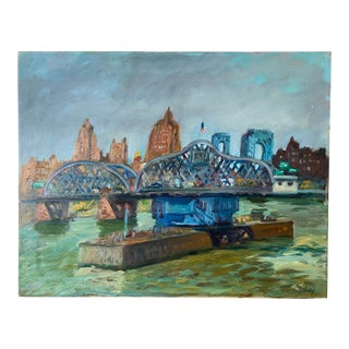 New York Harbor Landscape Painting on Canvas For Sale