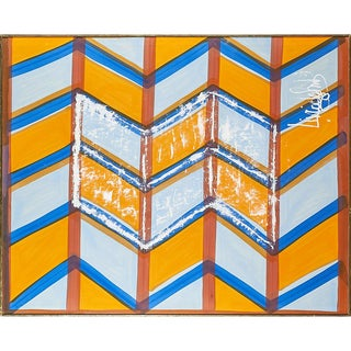 Signed Livio De Simone Original Hand-Painted Geometric Fabric Framed For Sale