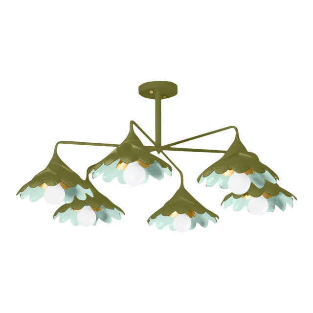 Stray Dog Designs for Chairish John O Ceiling Light, Olive and Light Blue For Sale
