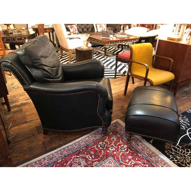 2000 - 2009 Dark Charcoal Leather Club Chair & Ottoman For Sale - Image 5 of 9