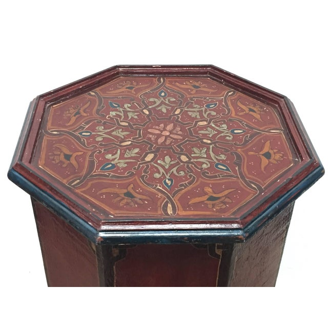 Hand-Painted Moroccan Pedestal Table For Sale - Image 10 of 13