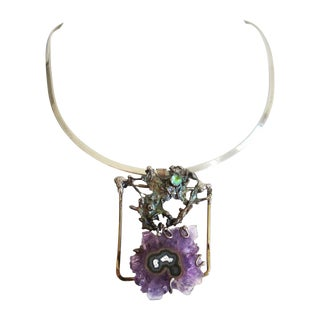 Brutalist Sterling Silver and Amethyst Necklace For Sale