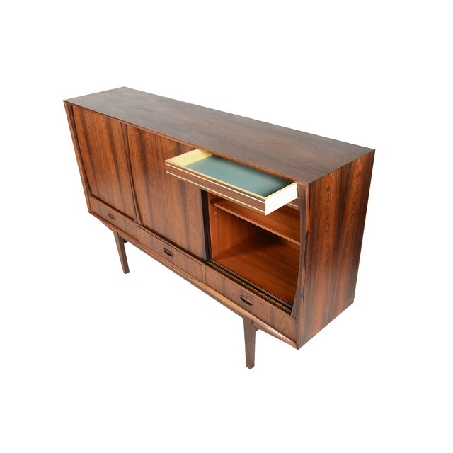 Tall Danish Modern Rosewood Credenza - Image 6 of 10